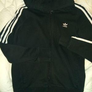 Adidas original three stripe black zip hoodie